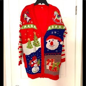 Vintage Ugly Christmas Sweater Cardigan Red